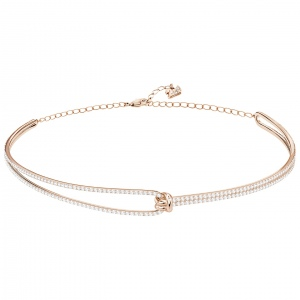 Naszyjnik SWAROVSKI - Lifelong Choker, White, Rose gold 5392925