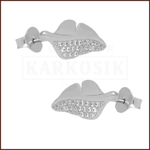 Srebrne kolczyki z cyrkoniami - Piórka pr.925