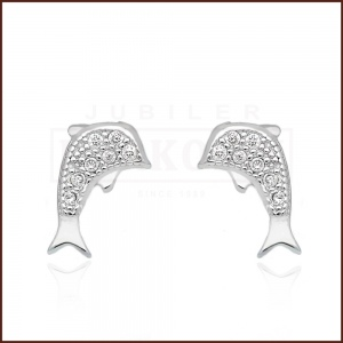 Srebrne kolczyki z cyrkoniami - Delfinki pr.925