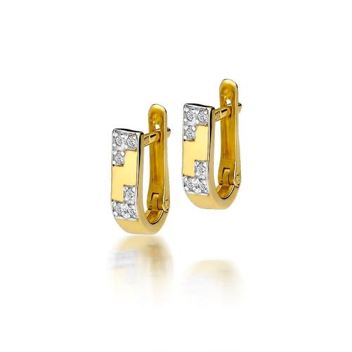 Złote kolczyki 585 z brylantami 0,10CT