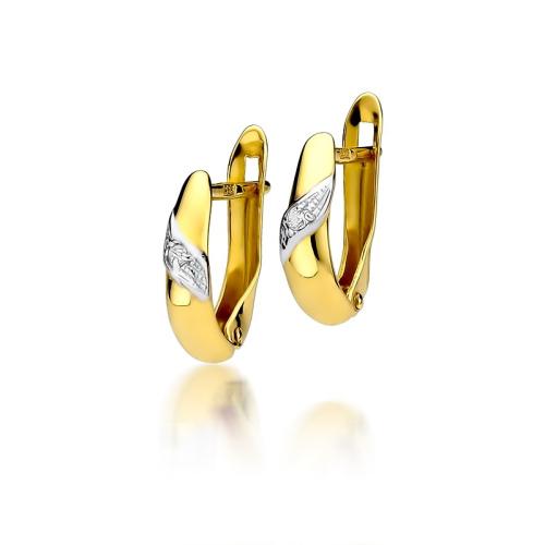 Złote kolczyki 585 z brylantami 0,04CT