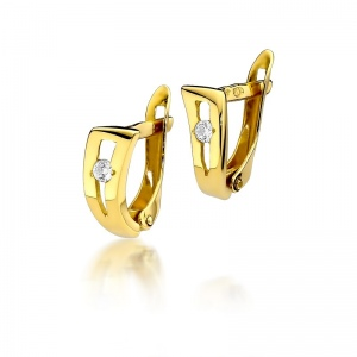 Złote kolczyki 585 z brylantami 0,08CT
