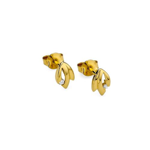 Złote kolczyki 585 z brylantami 0,03CT