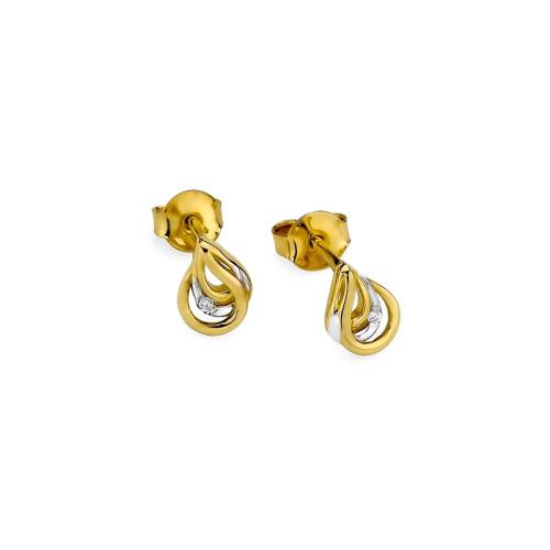 Złote kolczyki 585 z brylantami 0,02CT