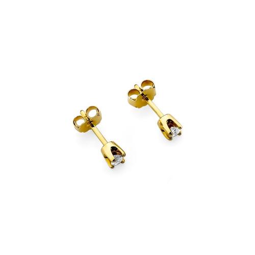 Złote kolczyki 585 z brylantami 0,16CT