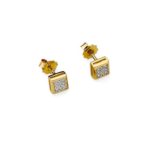 Złote kolczyki 585 z brylantami 0,09CT