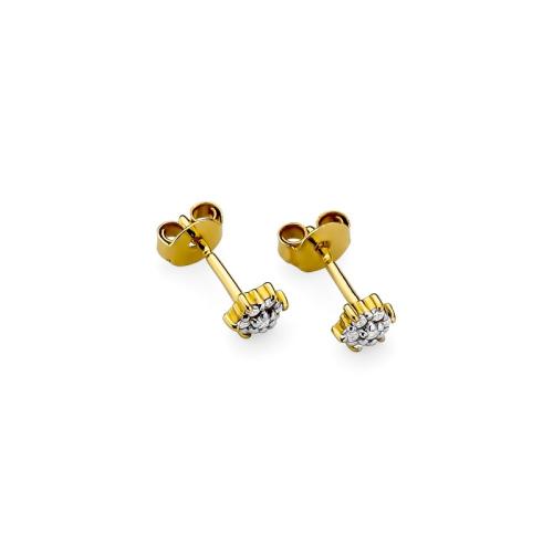 Złote kolczyki 585 z brylantami 0,12CT