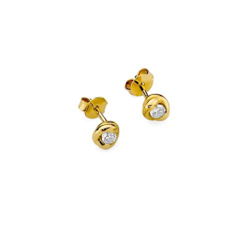 Złote kolczyki 585 z brylantami 0,20CT