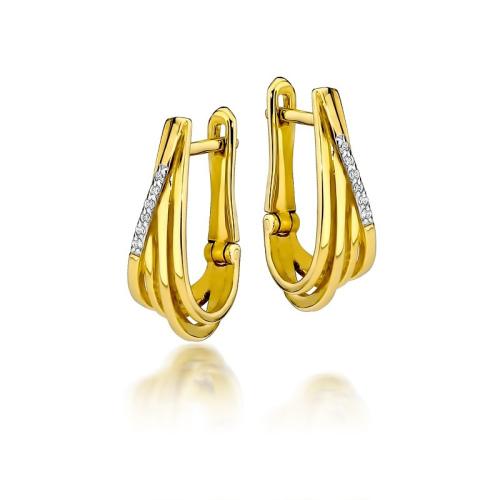 Złote kolczyki 585 z brylantami 0,06CT