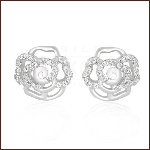 Srebrne kolczyki z cyrkoniami - Kwiatki pr.925