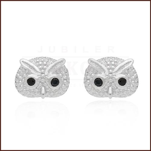 Srebrne kolczyki z cyrkoniami - Sówki pr.925