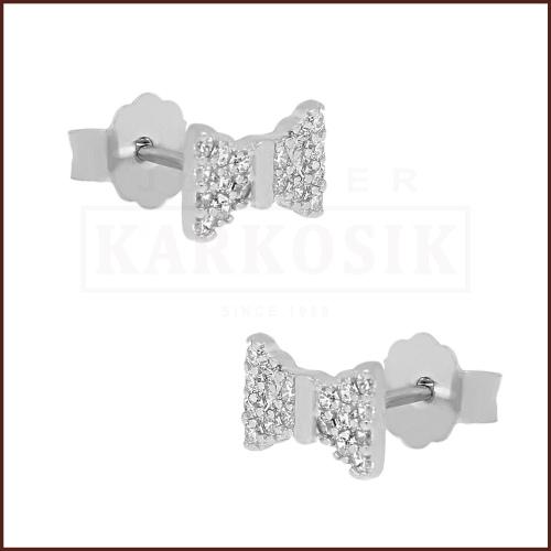 Srebrne kolczyki z cyrkoniami - Kokardki pr.925