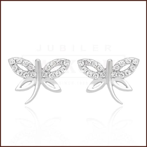 Srebrne kolczyki z cyrkoniami - Motylki pr.925