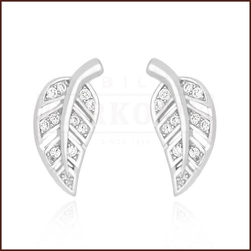 Srebrne kolczyki z cyrkoniami - Listki pr.925