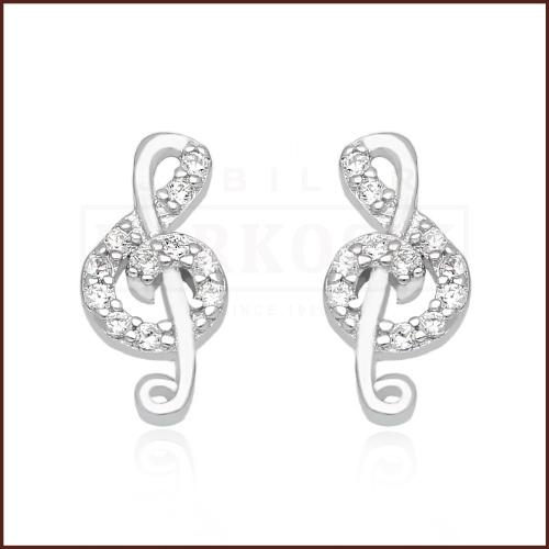 Srebrne kolczyki z cyrkoniami - Klucz Wiolinowy pr.925