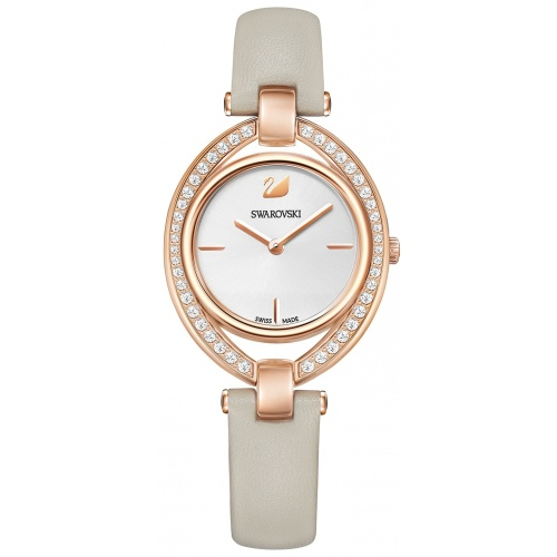 Zegarek Swarovski Stella, Leather strap, Gray, Rose gold tone 5376830