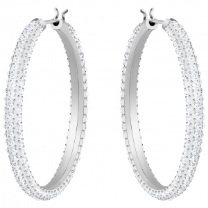 Kolczyki SWAROVSKI - Stone Hoop Pierced Earrings, White 5389432