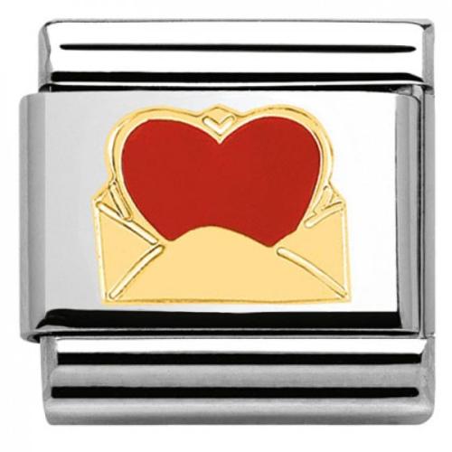 Nomination - Link 18K Gold 'Red love letter' 030253/24