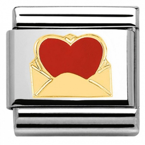 Nomination - Link 18K Gold 'Red love letter' 030253/24