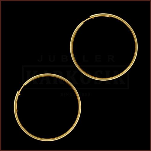 Złote kolczyki - Diamentowane koła 40mm pr.585