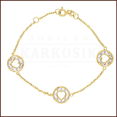 Złota Bransoletka - Ażurowe Serduszka 16cm pr.585