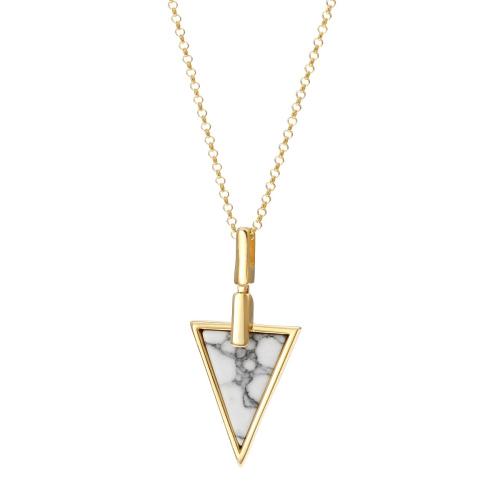 Srebrny Naszyjnik Pozłacany pr. 925 - Trójkąt z Howlitem