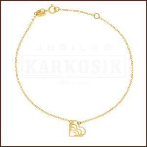 Złota Bransoletka Celebrytka - Serduszka pr. 585