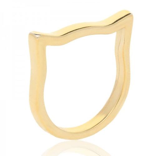 Srebrny Pierścionek pozłacany pr.925 - Geometryczny Kot