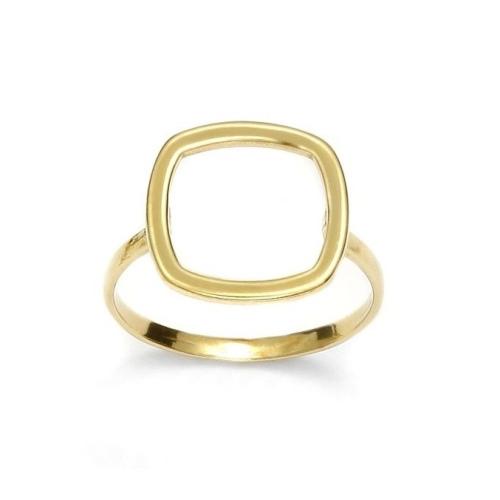 Srebrny Pierścionek pozłacany pr.925 - Geometryczny Kwadrat