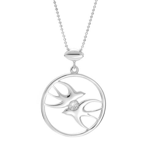 Srebrny Wisior Rodowany pr. 925 - Jaskółki z Cyrkonią