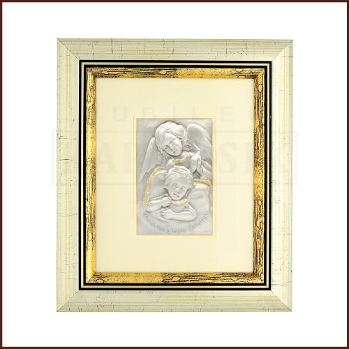 Srebrny Obrazek na Chrzest Św. - Anioł Stróż