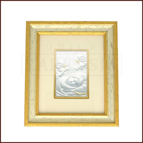 Srebrny Obrazek na Chrzest Św. - Aniołki czuwające nad dzieckiem