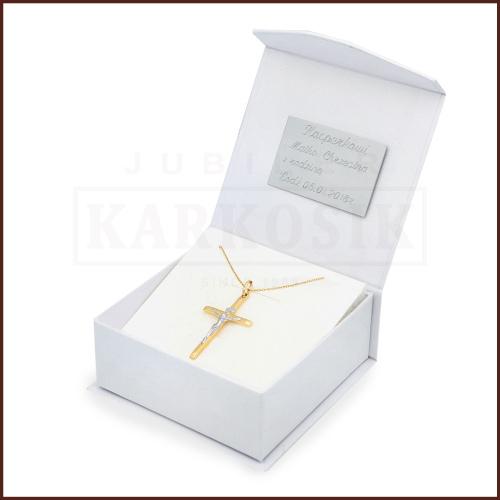 Złoty Komplet z Krzyżykiem pr.333 - Prezent na Chrzest Komunię