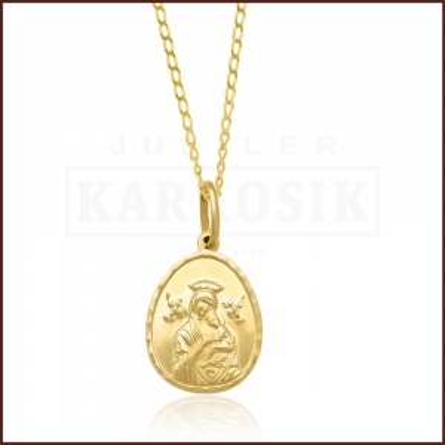 Złoty Komplet z Medalikiem pr.585 - Prezent na Chrzest Komunię