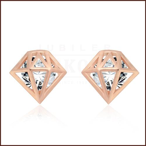 Pozłacane Kolczyki - Diamenty pr.925