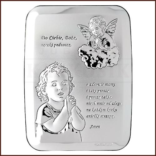 Srebrny Obrazek - Pamiątka Pierszej Komunii Św. Dla Dziewczynki