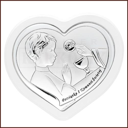 Srebrny Obrazek - Pamiątka Pierszej Komunii Św. Dla Chłopca