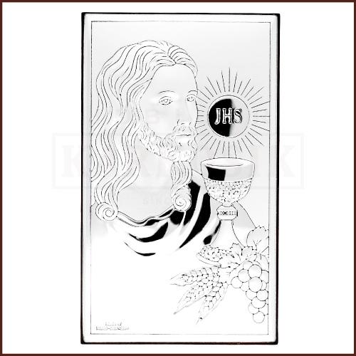 Srebrny Obrazek - Pamiątka Pierszej Komunii Św. - Jezus