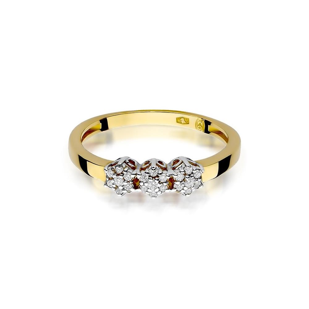 Pierścionek zaręczynowy 585 złoto z brylantami 0,12ct
