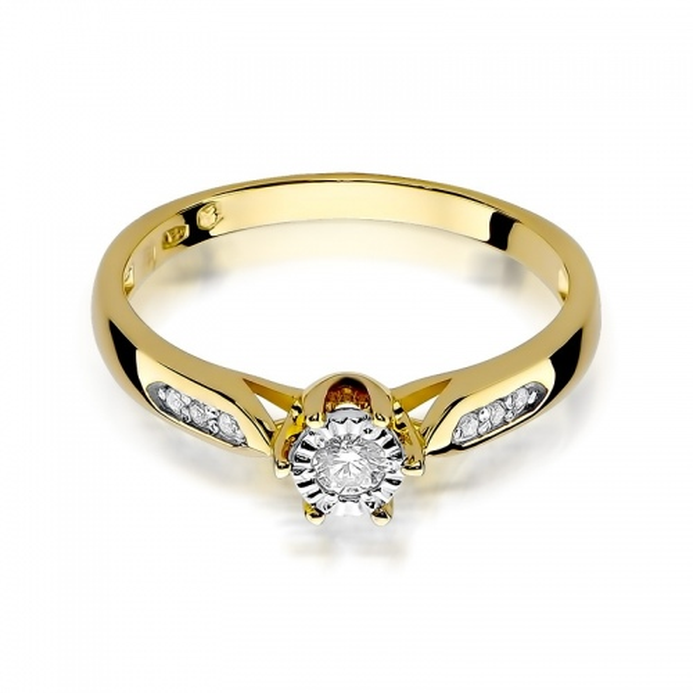 Pierścionek zaręczynowy 585 złoto z brylantami brylantami 0,11ct