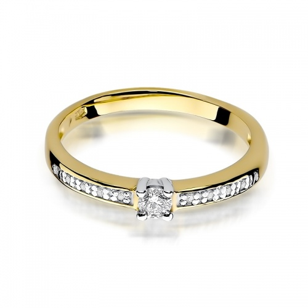 Pierścionek zaręczynowy 585 złoto z brylantami 0,13ct