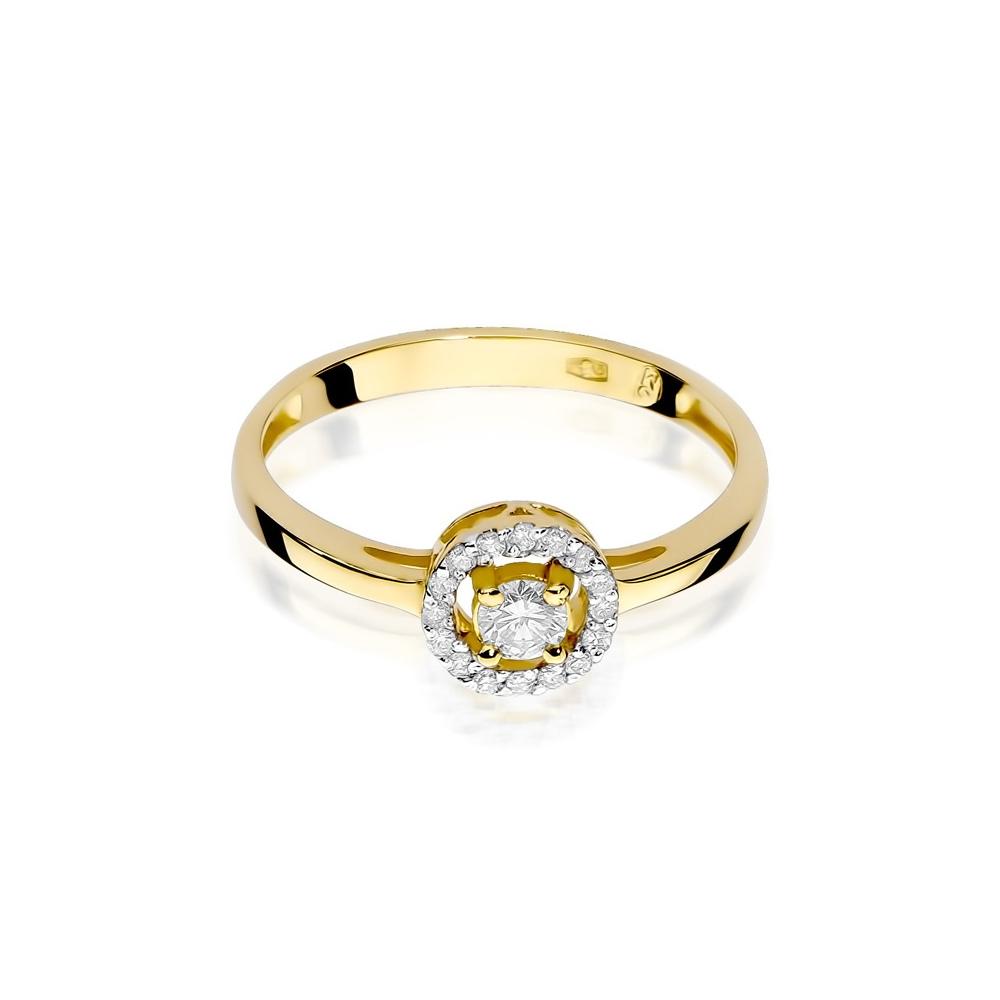 Pierścionek zaręczynowy 585 złoto z brylantami 0,20ct