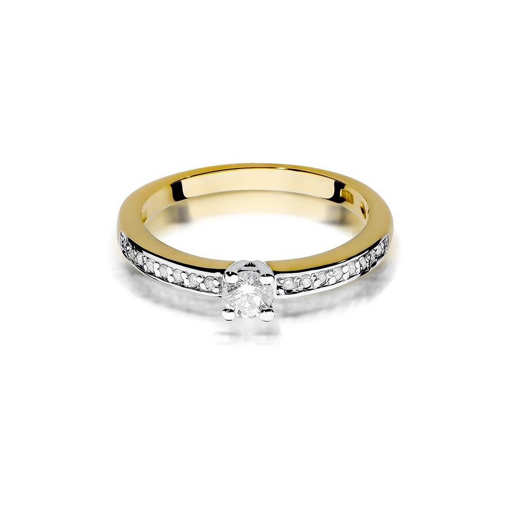 Pierścionek zaręczynowy 585 złoto z brylantami brylantami 0,28ct