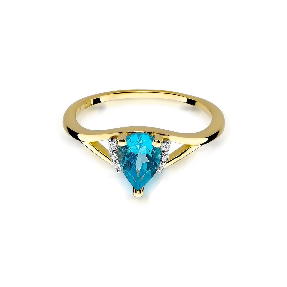 Pierścionek zaręczynowy 585 złoto z topazem 0,90ct  i brylantami