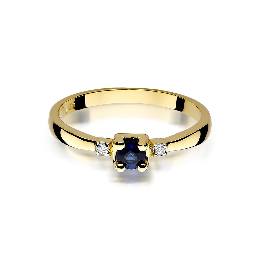 Pierścionek zaręczynowy 585 złoto z szafirem 0,30ct i brylantami