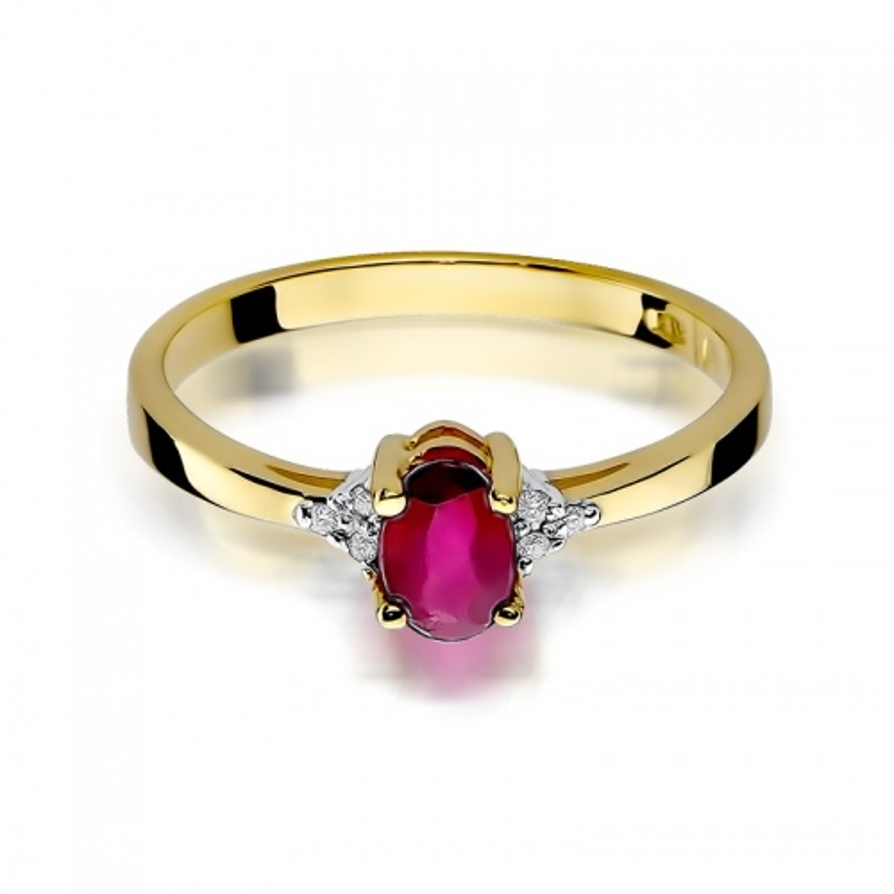 Pierścionek zaręczynowy 585 złoto z rubinem 0,60ct i brylantami