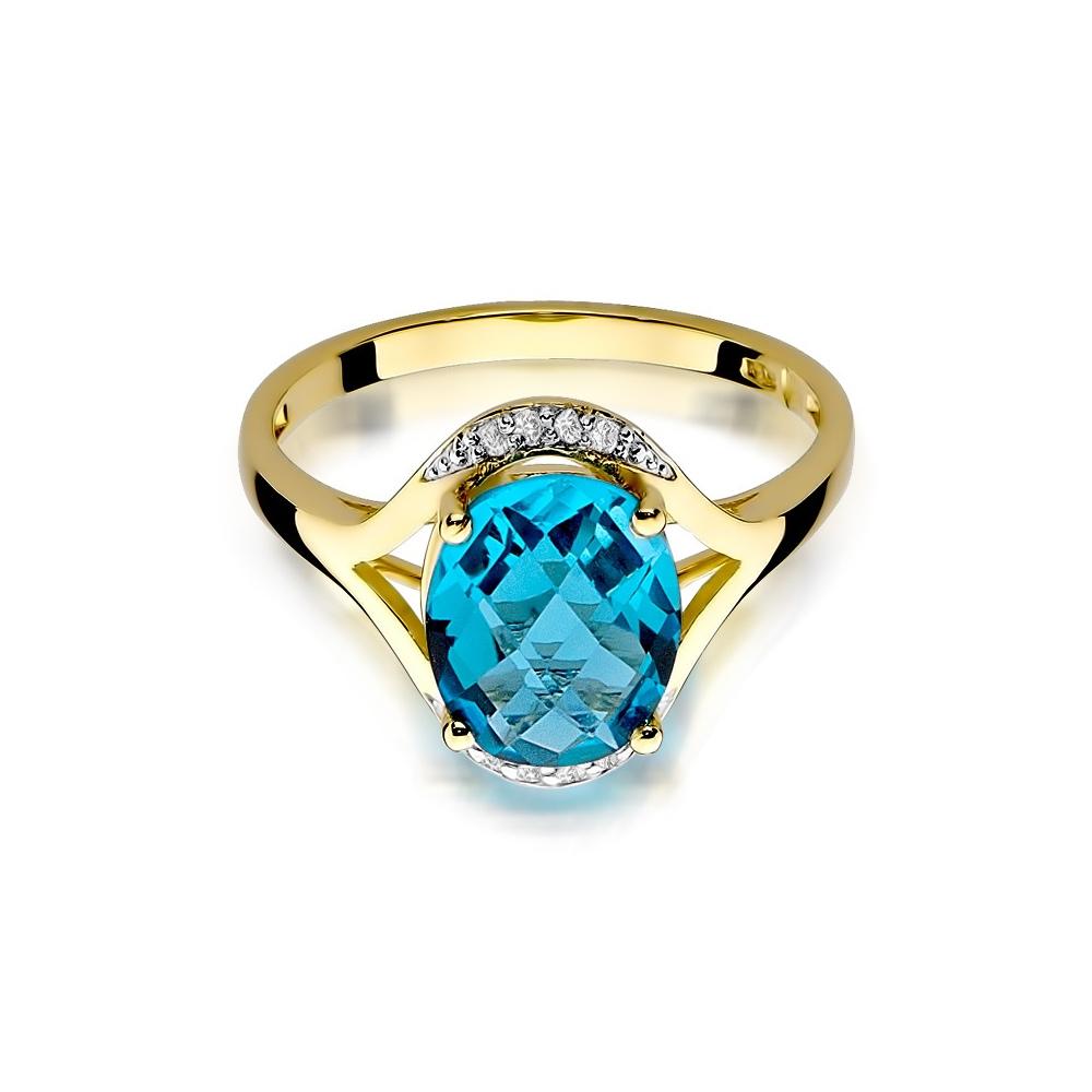 Pierścionek zaręczynowy 585 złoto z topazem 3,00ct i brylantami