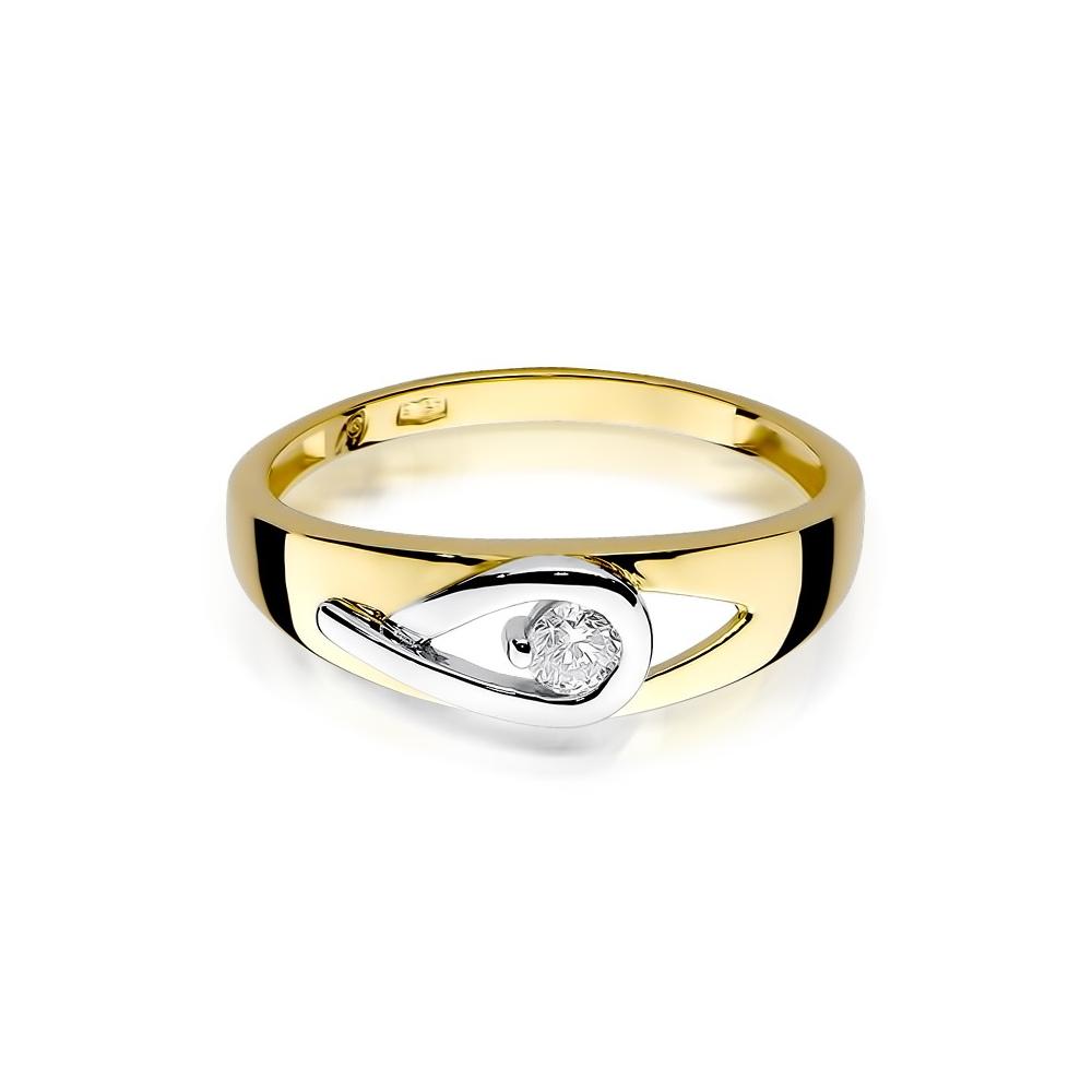 Pierścionek zaręczynowy 585 złoto z brylantem 0,12ct