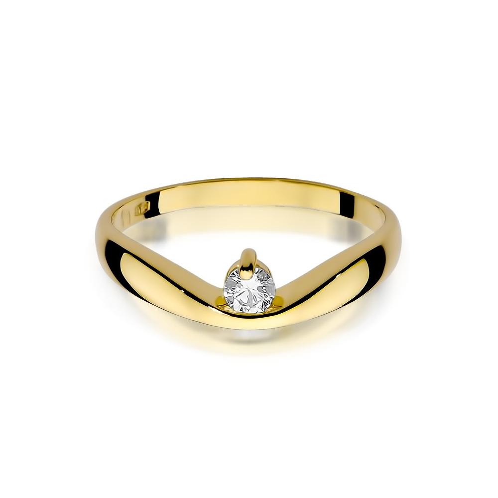 Pierścionek zaręczynowy 585 złoto z brylantami 0,15ct