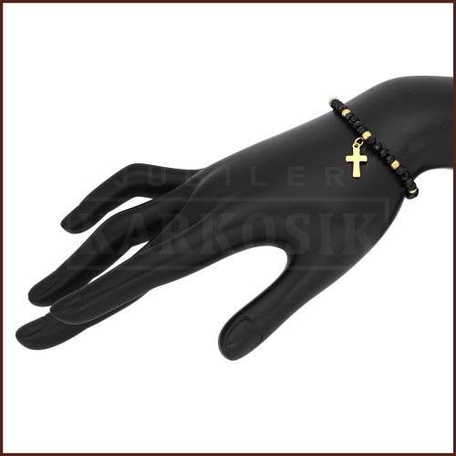 Czarna Bransoletka z Krzyżykiem